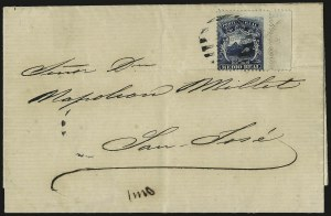 Sale Number 949, Lot Number 1105, China thru Costa RicaCOSTA RICA, 1863, -1/2r Blue (1), COSTA RICA, 1863, -1/2r Blue (1)