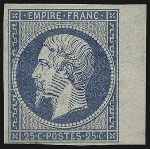 Sale Number 949, Lot Number 1111, France thru French ColoniesFRANCE, 1853, 25c Blue on Bluish (17; Yvert 15), FRANCE, 1853, 25c Blue on Bluish (17; Yvert 15)