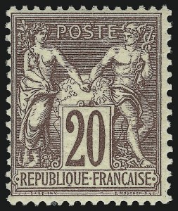 Sale Number 949, Lot Number 1115, France thru French ColoniesFRANCE, 1876, 20c Red Brown, Ty. II (70; Yvert 67), FRANCE, 1876, 20c Red Brown, Ty. II (70; Yvert 67)