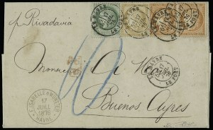 Sale Number 949, Lot Number 1117, France thru French ColoniesFRENCH ANTARCTIC TERRITORY, 1872-73, 5c Yellow Green, 15c Bistre, 40c Orange (53, 61, 59; Yvert 53, 55, 48), FRENCH ANTARCTIC TERRITORY, 1872-73, 5c Yellow Green, 15c Bistre, 40c Orange (53, 61, 59; Yvert 53, 55, 48)