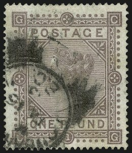 Sale Number 949, Lot Number 1141, Great Britain1882, £1 Brown Lilac on White Paper (92a), 1882, £1 Brown Lilac on White Paper (92a)