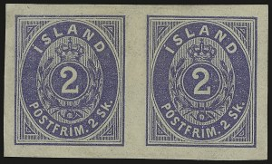 Sale Number 949, Lot Number 1156, Guatemala thru IndochinaICELAND, 1873, 2s Ultramarine, Imperforate (1a), ICELAND, 1873, 2s Ultramarine, Imperforate (1a)