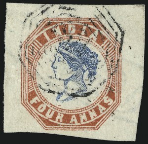 Sale Number 949, Lot Number 1158, Guatemala thru IndochinaINDIA, 1854, 4a Red and Blue, First Printing (6; SG 18), INDIA, 1854, 4a Red and Blue, First Printing (6; SG 18)