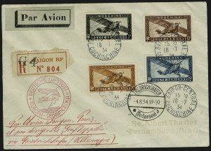 Sale Number 949, Lot Number 1159, Guatemala thru IndochinaINDOCHINA, Zeppelin Flight, INDOCHINA, Zeppelin Flight