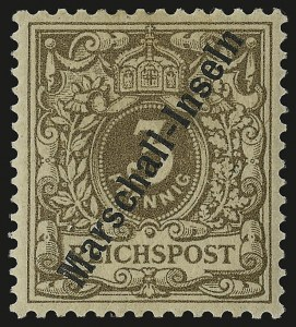 Sale Number 949, Lot Number 1213, Korea thru MauritiusMARSHALL ISLANDS, 1897, 3pf Light Brown (1a; Michel 1Ib), MARSHALL ISLANDS, 1897, 3pf Light Brown (1a; Michel 1Ib)