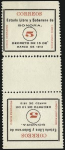 "Sale Number 949, Lot Number 1228, MexicoMEXICO, 1913, 5c Black and Red, ""Sonora"", Perf 12, Tete-Beche Vertical Pair with Gutter Between (321 var.), MEXICO, 1913, 5c Black and Red, ""Sonora"", Perf 12, Tete-Beche Vertical Pair with Gutter Between (321 var.)"