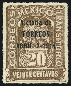 "Sale Number 949, Lot Number 1229, MexicoMEXICO, 1914, 20c Yellow Brown, ""Torreon"" Ovpt. (367), MEXICO, 1914, 20c Yellow Brown, ""Torreon"" Ovpt. (367)"