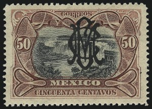 "Sale Number 949, Lot Number 1232, MexicoMEXICO, 1915, 50c Carmine and Black, ""Villa"" Monogram on 1903 Issue (454), MEXICO, 1915, 50c Carmine and Black, ""Villa"" Monogram on 1903 Issue (454)"