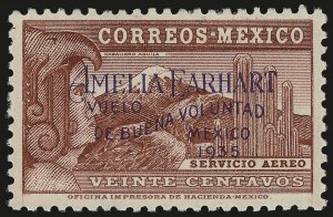 Sale Number 949, Lot Number 1241, MexicoMEXICO, 1935, 20c Brown Carmine, Amelia Earhart Overprint. (C74), MEXICO, 1935, 20c Brown Carmine, Amelia Earhart Overprint. (C74)