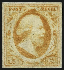Sale Number 949, Lot Number 1245, Natal thru New BrunswickNETHERLANDS, 1852, 15c Orange (3), NETHERLANDS, 1852, 15c Orange (3)