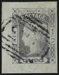 Sale Number 949, Lot Number 1270, New South Wales thru Northwest Pacific IslandsNEW SOUTH WALES, 1851, 2p Grayish Blue, Bluish, Pl. I (Sc. 14b; SG 55), NEW SOUTH WALES, 1851, 2p Grayish Blue, Bluish, Pl. I (Sc. 14b; SG 55)
