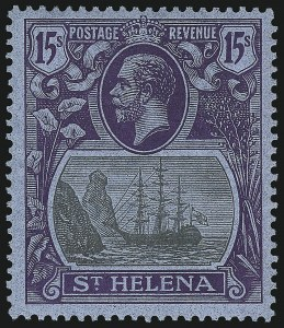 Sale Number 949, Lot Number 1306, St. Helena thru TrinidadST. HELENA, 1922, 15sh Violet & Black on Blue (94; SG 113), ST. HELENA, 1922, 15sh Violet & Black on Blue (94; SG 113)