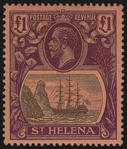 Sale Number 949, Lot Number 1307, St. Helena thru TrinidadST. HELENA,1922, £1 Red Violet and Black on Red (99; SG 96), ST. HELENA,1922, £1 Red Violet and Black on Red (99; SG 96)