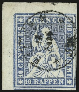 Sale Number 949, Lot Number 1308, St. Helena thru TrinidadSWITERLAND, 1855, 10r Blue, Second Bern Printing (27; Zumstein 23Cd), SWITERLAND, 1855, 10r Blue, Second Bern Printing (27; Zumstein 23Cd)