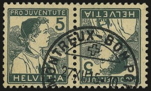 Sale Number 949, Lot Number 1310, St. Helena thru TrinidadSWITZERLAND, 1915, 5c Green on Buff, Tete-Beche Pair (B2a), SWITZERLAND, 1915, 5c Green on Buff, Tete-Beche Pair (B2a)