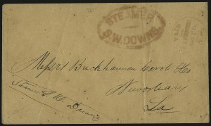 Sale Number 950, Lot Number 2075, Steamboat MailSteamer S. W. Downs, Steamer S. W. Downs