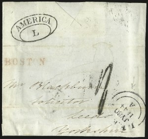"Sale Number 950, Lot Number 2084, Ship and Transatlantic Mail""BOSTON"" British Agent's Handstamp, ""BOSTON"" British Agent's Handstamp"