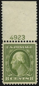 Sale Number 953, Lot Number 1029, 1910-13 Washington-Franklin Issue (Scott 374-396)8c Olive Green (380), 8c Olive Green (380)