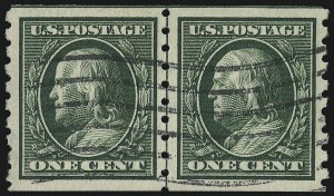 Sale Number 953, Lot Number 1047, 1910-13 Washington-Franklin Issue (Scott 374-396)1c Green, Coil (392), 1c Green, Coil (392)
