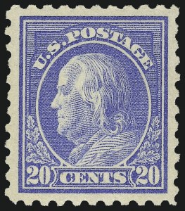 Sale Number 953, Lot Number 1120, 1913-15 Washington-Franklin Issues (Scott 424-461)20c Ultramarine (438), 20c Ultramarine (438)