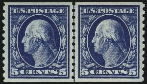 Sale Number 953, Lot Number 1140, 1913-15 Washington-Franklin Issues (Scott 424-461)5c Blue, Coil (447), 5c Blue, Coil (447)