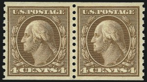 Sale Number 953, Lot Number 1162, 1913-15 Washington-Franklin Issues (Scott 424-461)4c Brown, Coil (457), 4c Brown, Coil (457)