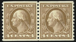Sale Number 953, Lot Number 1163, 1913-15 Washington-Franklin Issues (Scott 424-461)4c Brown, Coil (457), 4c Brown, Coil (457)
