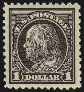 Sale Number 953, Lot Number 1242, 1917-19 Issues (Scott 481-524)$1.00 Violet Brown (518), $1.00 Violet Brown (518)