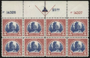 Sale Number 953, Lot Number 1324, 1922-29 Issues (Scott 551-621)$5.00 Carmine & Blue (573), $5.00 Carmine & Blue (573)