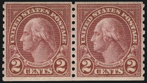 Sale Number 953, Lot Number 1334, 1922-29 Issues (Scott 551-621)2c Carmine, Ty. II, Coil (599A), 2c Carmine, Ty. II, Coil (599A)