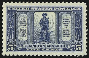 Sale Number 953, Lot Number 1340, 1922-29 Issues (Scott 551-621)5c Lexington-Concord (619), 5c Lexington-Concord (619)