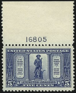 Sale Number 953, Lot Number 1341, 1922-29 Issues (Scott 551-621)5c Lexington-Concord (619), 5c Lexington-Concord (619)