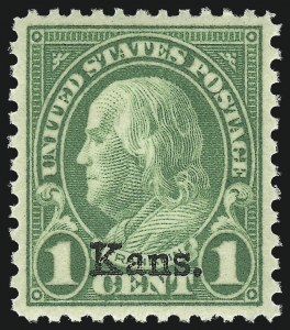 Sale Number 953, Lot Number 1362, 1925 and Later Issues (Scott 622 and Later Issues)1c Kans. Ovpt. (658), 1c Kans. Ovpt. (658)