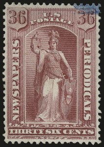 Sale Number 953, Lot Number 1654, Newspapers and Periodicals36c Rose, 1875 Issue (PR18), 36c Rose, 1875 Issue (PR18)