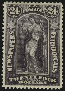Sale Number 953, Lot Number 1655, Newspapers and Periodicals$24.00 Dark Gray Violet, 1875 Issue (PR29), $24.00 Dark Gray Violet, 1875 Issue (PR29)