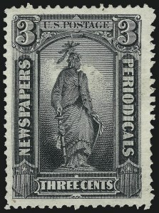 Sale Number 953, Lot Number 1657, Newspapers and Periodicals3c Gray Black, 1875 Special Printing, Horizontally Ribbed Paper (PR34a), 3c Gray Black, 1875 Special Printing, Horizontally Ribbed Paper (PR34a)