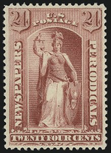 Sale Number 953, Lot Number 1668, Newspapers and Periodicals24c Carmine, 1885 Issue (PR83), 24c Carmine, 1885 Issue (PR83)