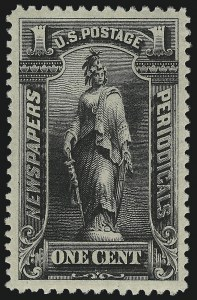 Sale Number 953, Lot Number 1669, Newspapers and Periodicals1c Intense Black, 1894 Issue (PR90), 1c Intense Black, 1894 Issue (PR90)