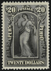 Sale Number 953, Lot Number 1675, Newspapers and Periodicals$20.00 Slate, 1895 Watermarked Issue (PR123), $20.00 Slate, 1895 Watermarked Issue (PR123)