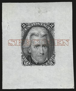 "Sale Number 953, Lot Number 17, Essays, Proofs and Specimens2c Black, Die I, Large Die Proof on India, ""Specimen"" Ovpt. (73P1 var), 2c Black, Die I, Large Die Proof on India, ""Specimen"" Ovpt. (73P1 var)"