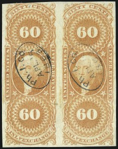 Sale Number 953, Lot Number 1774, Revenues (First Issue)60c Inland Exchange, Imperforate (R64a), 60c Inland Exchange, Imperforate (R64a)