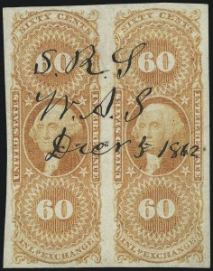 Sale Number 953, Lot Number 1775, Revenues (First Issue)60c Inland Exchange, Imperforate (R64a), 60c Inland Exchange, Imperforate (R64a)