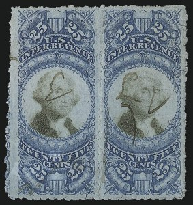 Sale Number 953, Lot Number 1822, Revenues (Second Issue)25c Blue & Black, Second Issue, Sewing Machine Perforations (R112b), 25c Blue & Black, Second Issue, Sewing Machine Perforations (R112b)