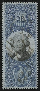 Sale Number 953, Lot Number 1829, Revenues (Second Issue)$10.00 Blue & Black, Second Issue (R128), $10.00 Blue & Black, Second Issue (R128)