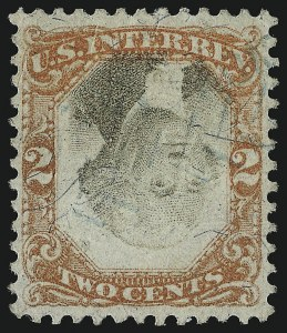 Sale Number 953, Lot Number 1841, Revenues (Third Issue, Proprietary)2c Orange & Black, Third Issue, Inverted Center (R135b), 2c Orange & Black, Third Issue, Inverted Center (R135b)