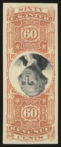 Sale Number 953, Lot Number 1842, Revenues (Third Issue, Proprietary)60c Orange & Black, Third Issue, Plate Proof on Card, Center Inverted (R142aP4), 60c Orange & Black, Third Issue, Plate Proof on Card, Center Inverted (R142aP4)
