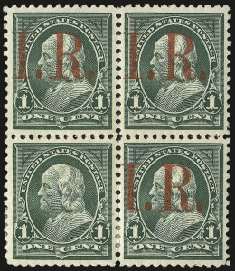 Sale Number 953, Lot Number 1846, Revenues (Third Issue, Proprietary)1c Green, I.R. Overprint, One Without Overprint (R154c), 1c Green, I.R. Overprint, One Without Overprint (R154c)