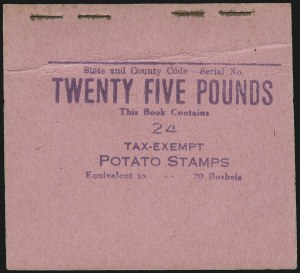 Sale Number 953, Lot Number 1853, Revenues (Third Issue, Proprietary)25lb Black Brown, 1935 Tax Exempt Potatoes, Booklet Pane of 12 (RI17a), 25lb Black Brown, 1935 Tax Exempt Potatoes, Booklet Pane of 12 (RI17a)