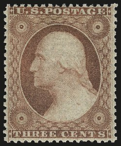 Sale Number 953, Lot Number 197, 1857-60 Issue (Scott 18-39)3c Dull Red, Ty. III (26). Mint N.H, 3c Dull Red, Ty. III (26). Mint N.H