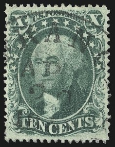 Sale Number 953, Lot Number 241, 1857-60 Issue (Scott 18-39)10c Green, Ty. III (33), 10c Green, Ty. III (33)